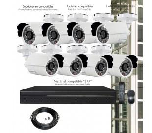 Kit de vidéo surveillance HDCVI avec 8 caméras extérieures
