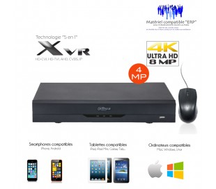 Enregistreur  4 canaux 4K/8MP + 4 canaux IP 4K/8MP