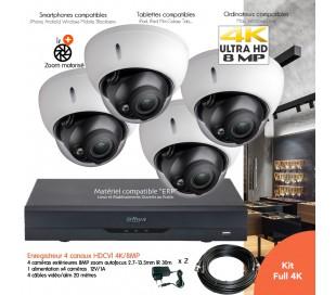 Kit vidéo surveillance 4K/8MP avec 4 caméras  de surveillance