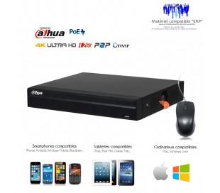Enregistreur IP PoE 4 canaux 8MP, capacité 2 disques durs