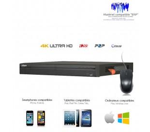 NVR de video surveillance 8 canaux 4K/8MP, capacité 2 disques durs