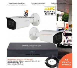 Kit  vidéo surveillance 8MP avec 2 caméras infrarouges 60m