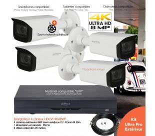 Kit  vidéo surveillance 8MP avec 4 caméras infrarouges 60m