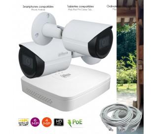 Kit video surveillance IP PoE avec 2 caméras IP extérieures