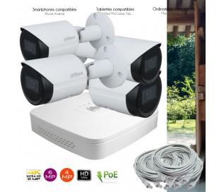 Système PoE de vidéo surveillance IP avec 4 caméras extérieures