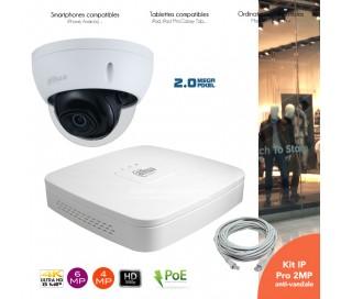 Kit video surveillance IP avec 1 caméra dôme