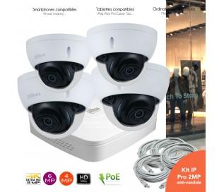 Système IP de video surveillance IP avec 4 caméras dômes