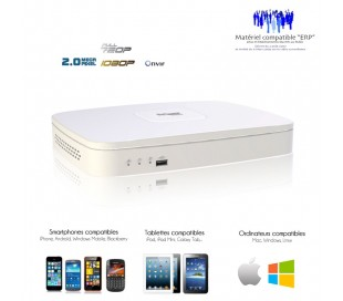 NVR 4 canaux, taille mini 1080P