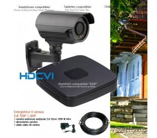 Kit de vidéo surveillance HDCVI avec caméra extérieure varifocale