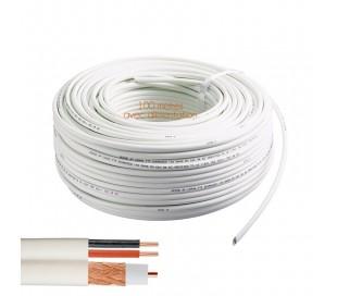 Câble coaxial RG-59 + alimentation 100 mètres