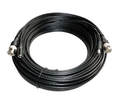 Câble coaxial, connecteurs BNC + alimentation, 30 mètres