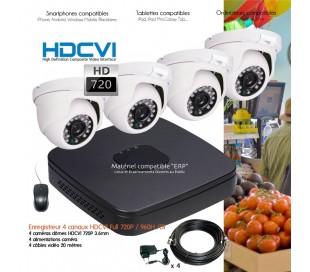Kit de vidéo surveillance HD 720P avec 4 dômes infrarouges 25m