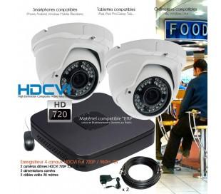 Système de surveillance HD 720P avec 2 dômes varifocales