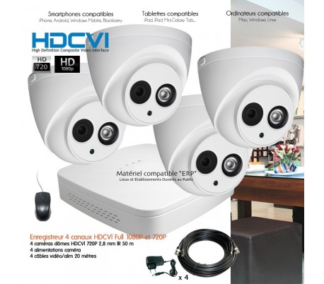 Kit 4 caméras de surveillance sans fil WIFI pour magasin