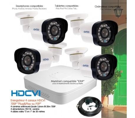Kit de vidéo surveillance HD 4 caméras extérieures 1080P 2MP