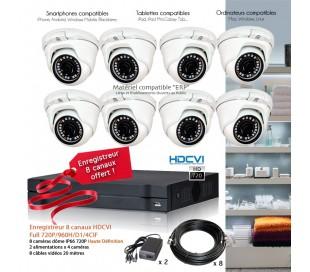 Kit de vidéo surveillance HD avec 8 dômes 720P