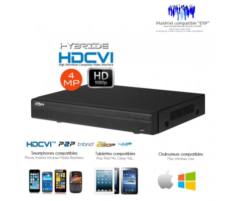 Enregistreur hybride 4 MP Full 1080P 16 +8  canaux de video surveillance HDCVI