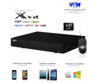 XVR de 16 canaux Full 1080P + 8 canaux IP 5MP, sorties alarme
