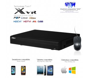 XVR 8 canaux full 1080N/720P + 2 canaux IP 5MP + sorties alarme